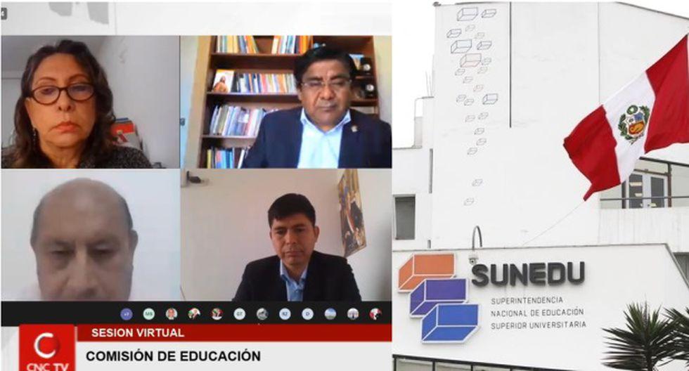 A la izquierda, la Comisión de Educación del Congreso sesiona de manera virtual el pasado viernes 12 de junio. A la derecha, la sede de la Sunedu. (Fotos: Congreso/GEC).