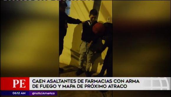 """Delincuentes pertenecerían a la banda criminal""""Los farmacéuticos"""" que asaltaban farmacias en Santa Anita y Vitar. (Captura: América TV)"""