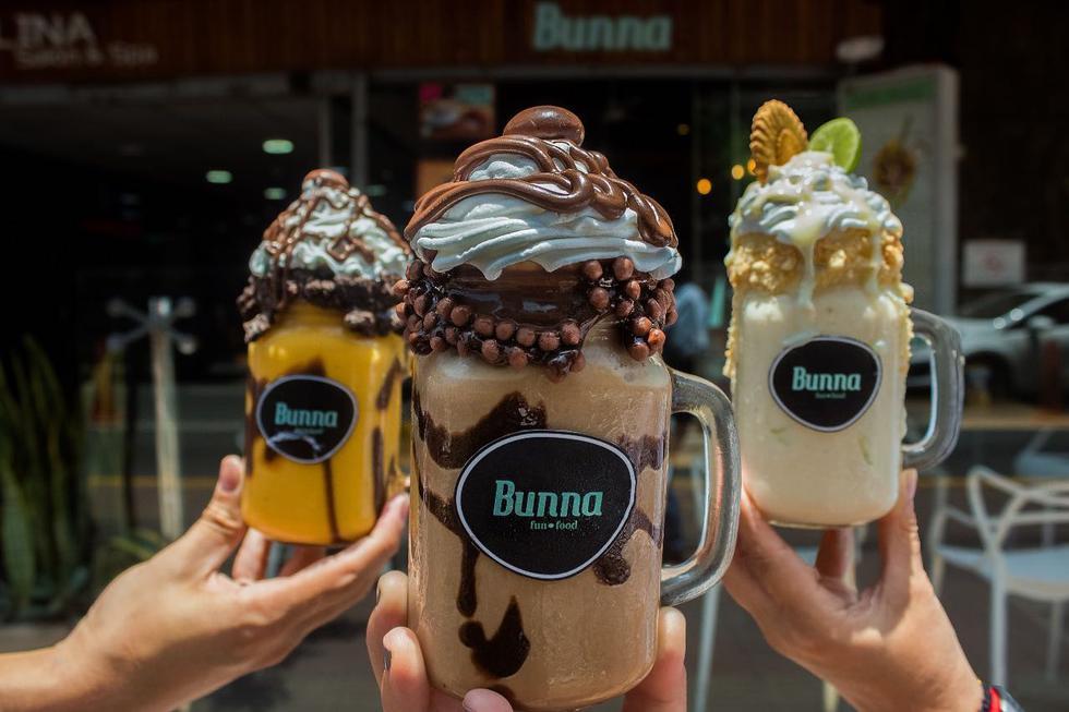 Bunna. El milkshake de helado artesanal se corona con chantillí y toppings de Nutella, galletas, grajeas, miel, fudge y hasta postres. (Foto: Bunna)