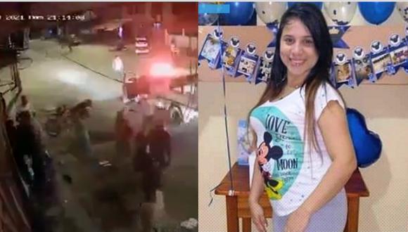 Las cámaras de videovigilancia de la zona captaron los acontecimientos que terminaron con la vida de una mujer embarazada de 26 años. (Fotos: captura de video y difusión)