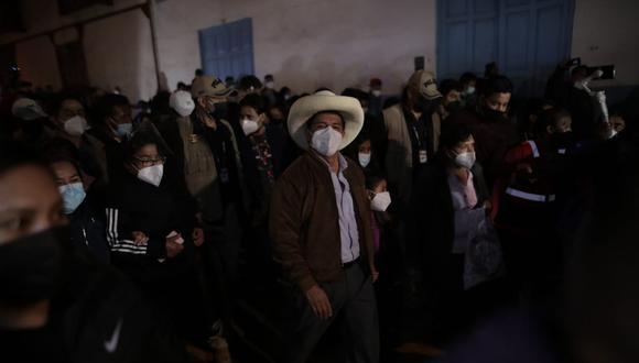 Pedro Castillo recibió los primeros resultados de la ONPE en Tacabamba. (Foto: Anthony Niño de Guzman / @photo.gec)