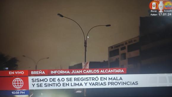 El alumbrado público perdió energía en el distrito de Breña | Imagen: captura América TV
