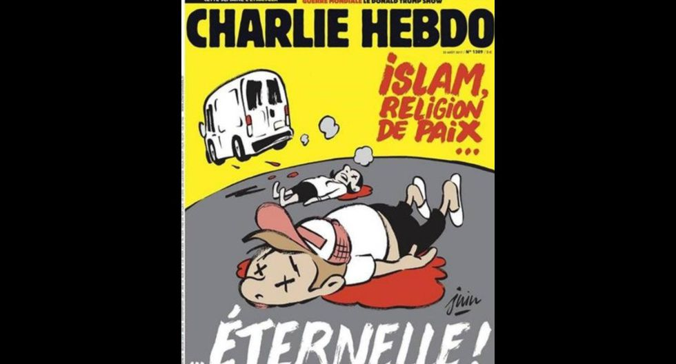 Portada del Charlie Hebdo sobre el ataque terrorista en La Rambla. (Twitter)