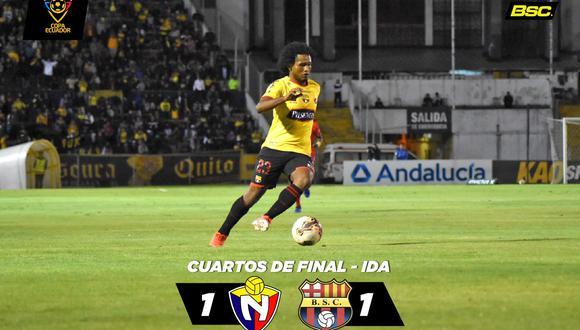 Barcelona y El Nacional esperaron a los últimos del juego para anotar en el Estadio Olímpico Atahualpa de Quito por la ida de los cuartos de final de la Copa de Ecuador. (Foto: Twitter Barcelona)
