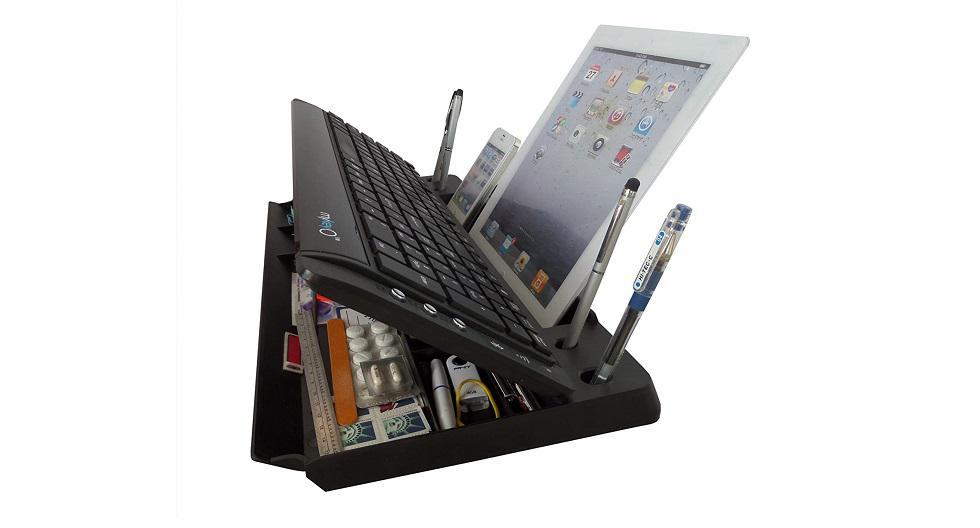 Teclado inalámbrico myKeyO de 105 teclas (incluye nueve botones de acceso rápido) para tablet y smartphones. Incluye bandejas para llaves, lápices, agendas, tarjetas, CD, USB y más. Puede cargarse mediante corriente o con dos pilas triple A.