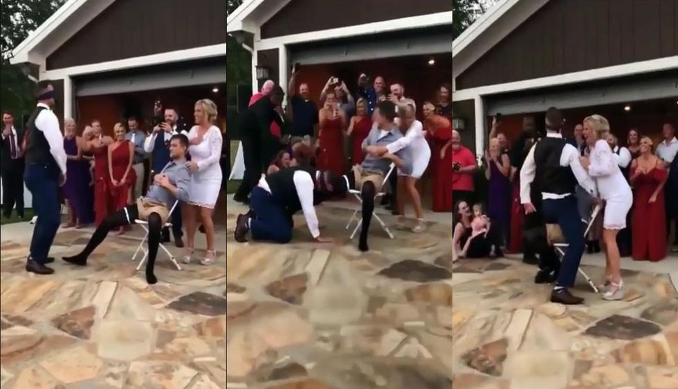 En Facebook se hizo en viral el video de un novio siendo parte de una cruel broma en la fiesta del día de su boda. Todo estuvo planeado por su esposa y así reaccionaron los usuarios de las redes sociales. (Foto: Captura)