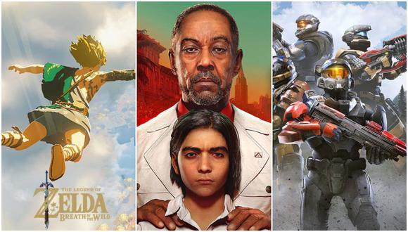 De izquierda a derecha: The Legend of Zelda: Breath of the Wild 2, Far Cry 6 y Halo Infinite. (Imagen: Nintendo, Ubisoft y Xbox)