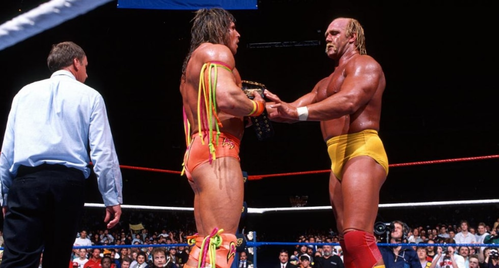Hulk Hogan vs. The Ultimate Warrior en Lucha de Campeón contra Campeón en WrestleMania VI. (Fotos: WWE.com)