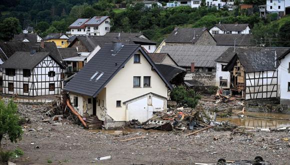 Toda la aldea de Schuld en el distrito de Ahrweiler es destruida después de una fuerte inundación del río Ahr, en Schuld, Alemania. (Foto: EFE / EPA / SASCHA STEINBACH).