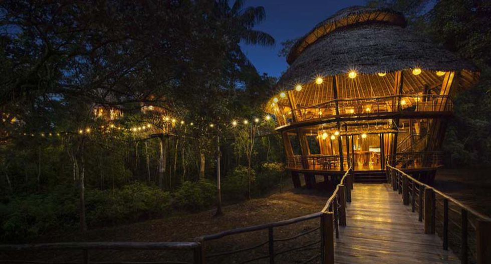 Treehouse Lodge, Iquitos. A dos horas y media de Iquitos podrás disfrutar de una increíble vista desde lo alto de un árbol. Este hotel dispone de múltiples bungalows, conectados entre sí a través de puentes colgantes.