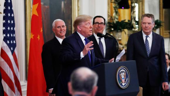 """Estados Unidos y China firmaron este miércoles el acuerdo de """"Fase uno"""" para poner fin a la guerra comercial. (Foto: AP)"""
