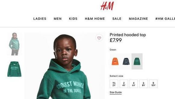 La imagen del niño en la sudadera con capucha apareció en la versión británica online de la tienda del minorista sueco H&M.