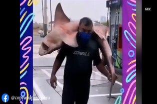 Miraflores: hombre pasea tiburón en hombros
