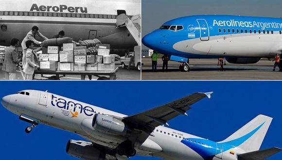 AeroPerú operó entre 1973 y 1999, y llegó a ser una de las aerolíneas mas importantes de Sudamérica. Al lado: imágenes de Aerolíneas Argentinas y TAME, de Ecuador. (Fotos: Archivo)