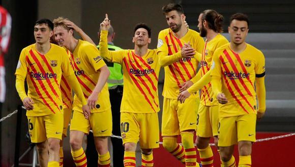 Con doblete de Messi,  Barcelona ganó gustó y goleó a Athletic Club en la final  de la Copa del Rey. (Foto EFE)