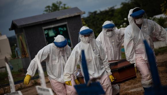 Trabajadores entierran a una persona fallecida por covid-19, en el cementerio público Nossa Senhora Aparecida en Manaos, Amazonas (Brasil). Fotografía de archivo. EFE/Raphael Alves