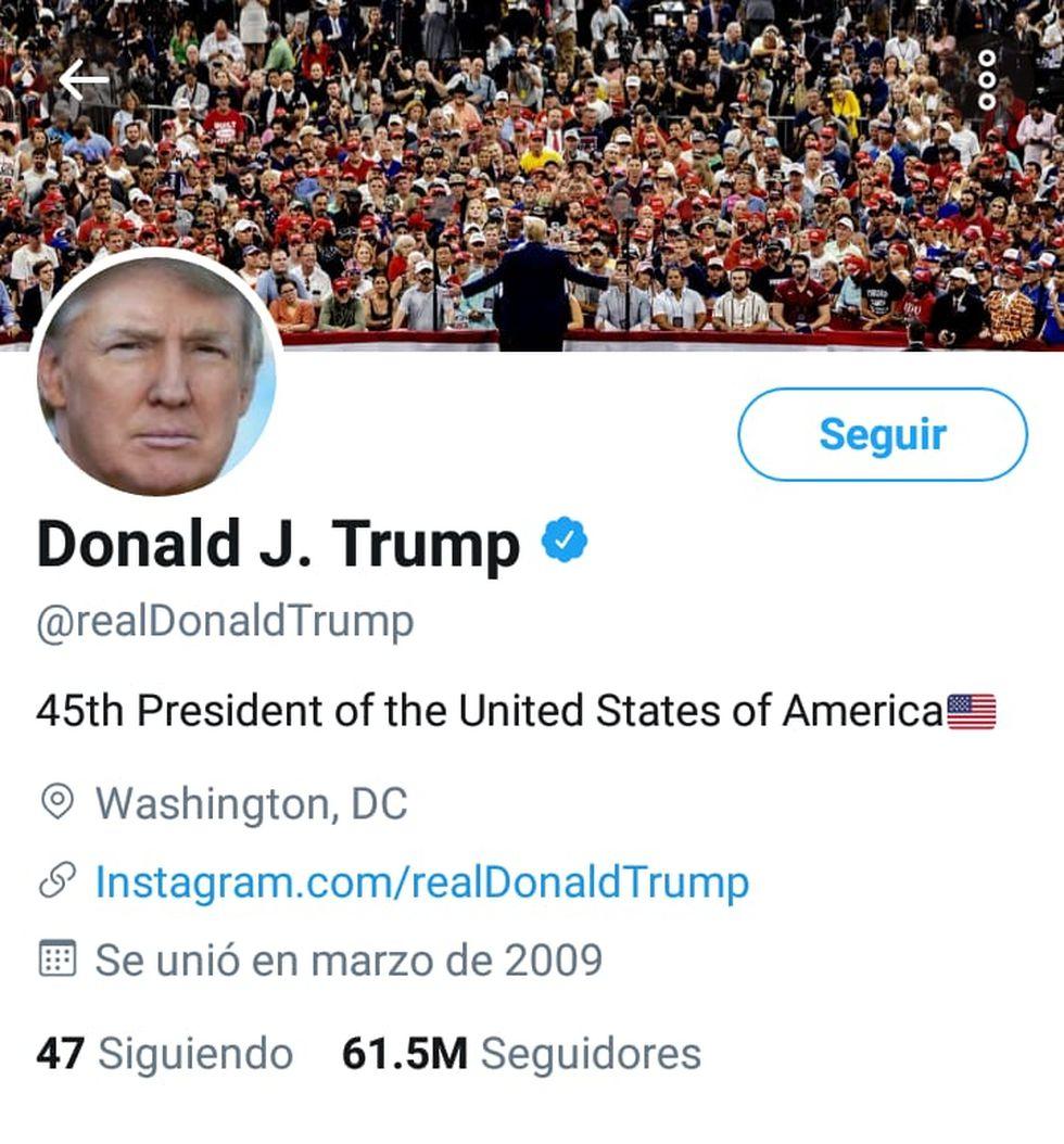 La cuenta del presidente de Estados Unidos, Donald Trump, es una de las más polémicas. Foto: Captura de Twitter
