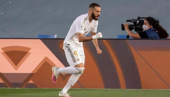 Real Madrid vs. Villarreal: Karim Benzema celebra su gol en el estadio Alfredo Di Stefano. (Foto: EFE)
