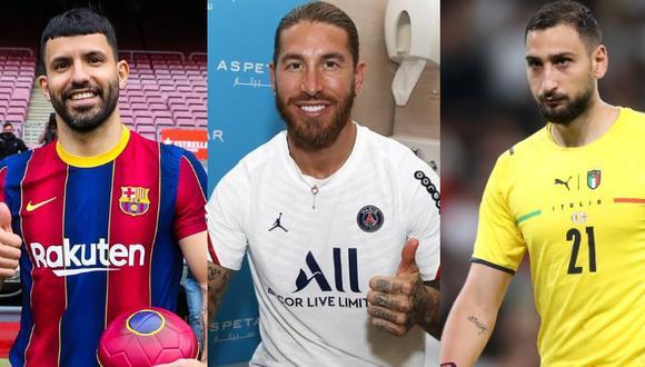 Sergio Agüero, Sergio Ramos y Gianluigi Donnaruma aparecen en la lista de transferencias más importantes de la presente temporada. (Fotos: Agencias, PSG, Barcelona).