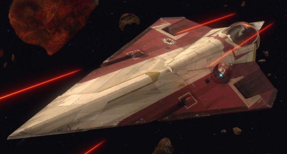 Jedi Starfighter: También con forma de cuña, es la nave por excelencia de los Jedi, aparece en la primera trilogía al mando de Obi Wan Kenobi.