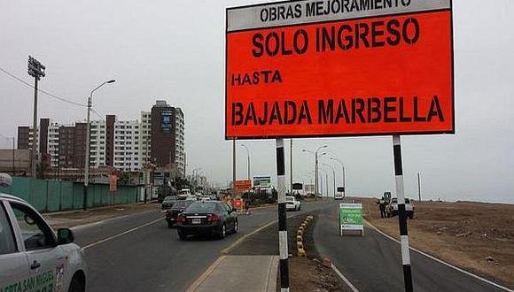 Costa Verde: habilitan bajada Escardó para agilizar el tránsito
