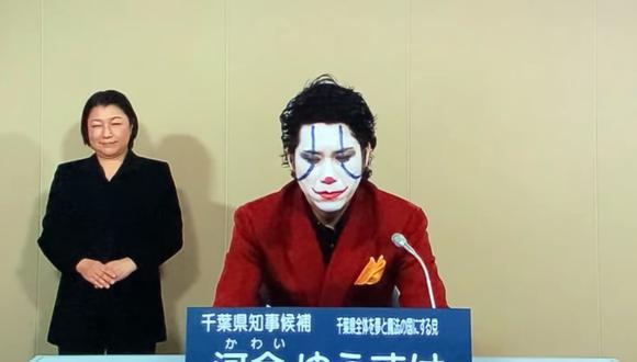 Político vestido como el Joker hace campaña en Japón. (Foto: Yuusuke Kawai | YouTube)