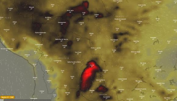 Incendios en la Amazonía EN VIVO: la tragedia de Brasil y Bolivia en tiempo real. Captura de Windy
