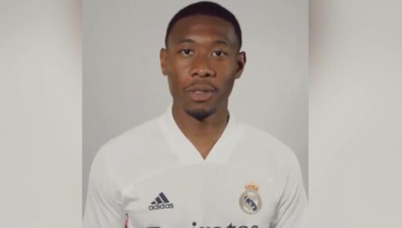 La primera vez de David Alaba con la camiseta de Real Madrid. (Foto: Twitter)