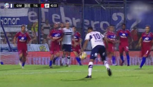Alexi Gómez debutó con golazo en la Superliga Argentina | VIDEO. (Foto: captura de pantalla)