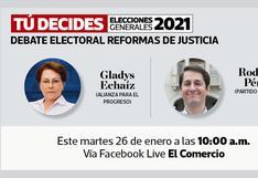 Candidatos al Congreso Gladys Echaíz y Rodolfo Pérez debaten esta mañana en El Comercio