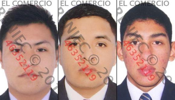 Ángel Orlando Solano Retuerto, Yonathan Ayala Jaramillo y Anthony Jonathan Moreno Gutiérrez son investigados por presuntamente haber violado a una joven.  (Foto: Reniec)