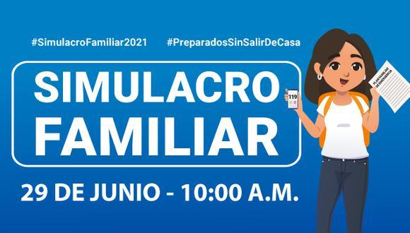 Participa este 29 de junio del Simulacro Familiar Multipeligro | Imagen: Indeci
