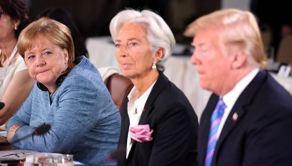 """Angela Merkel califica de """"deprimente"""" la actitud de Donald Trump ante el G7. (AFP)."""