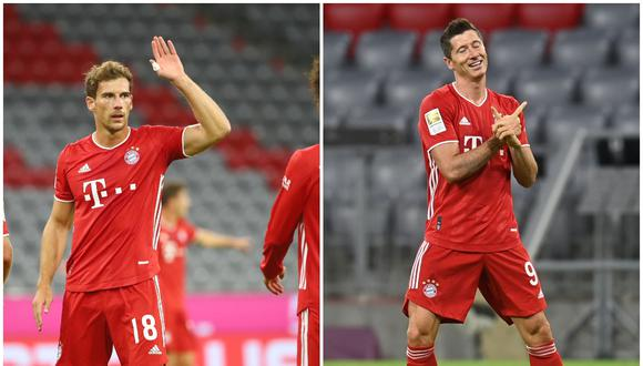 Leon Goretzka y Robert Lewandowski celebrando sus goles | Fotos: REUTERS - AFP