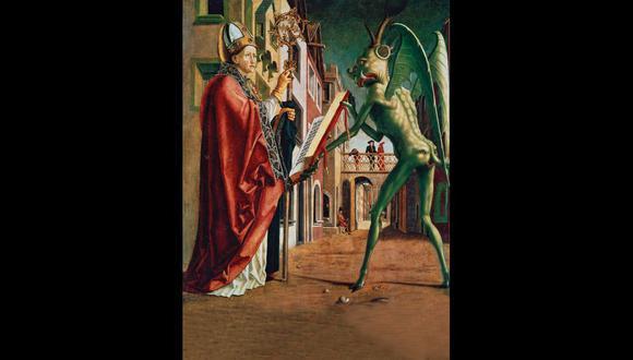 El diablo le presenta a san Agustín de Hipona el libro de los vicios. Cuadro pintado por Michael Pacher en el siglo XV. [Foto: Getty Images]