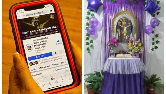 Izquierda: La virtualidad sigue siendo clave entre los fieles durante la pandemia. Derecha: Devotos comparten fotografías de los altares hechos en sus casas en honor al Cristo Moreno a través de la página de Facebook de la Hermandad del Señor de los Milagros. (Fotos: Gianmarco Ahón/ Facebook)