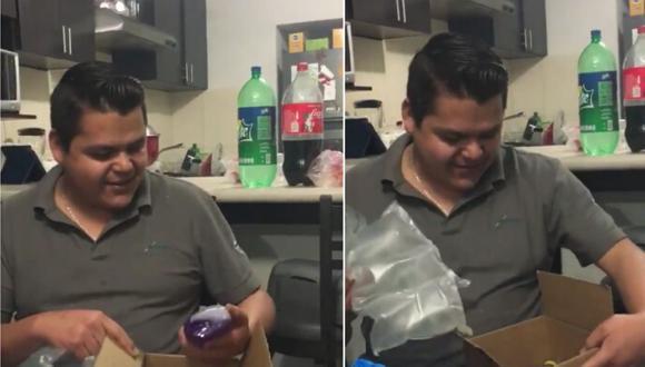 Cuando el hombre abrió el regalo se llevó una gran sorpresa pues esperaba otra cosa (Foto: Captura de video)