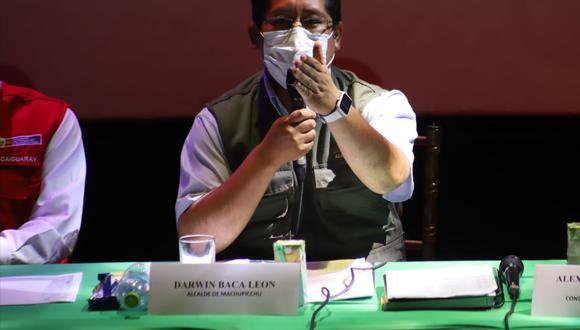 El alcalde Darwin Baca durante su participación en la tercera mesa de diálogo. (Foto: Melissa Valdivia)