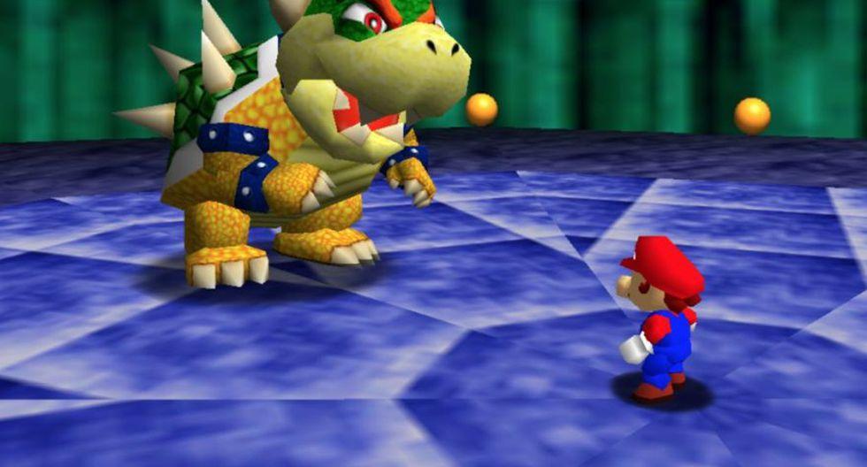 Super Mario 64 (1996). Videojuego desarrollado para la consola Nintendo 64, adopta mejoras gráficas ahora en 3D.