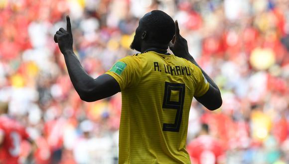 Romelu Lukaku se consagró como la figura monumental del partido entre Bélgica y Túnez, por la segunda jornada del Grupo G de Rusia 2018. El '9' europeo anotó dos goles en la etapa inicial. (Foto: AFP)