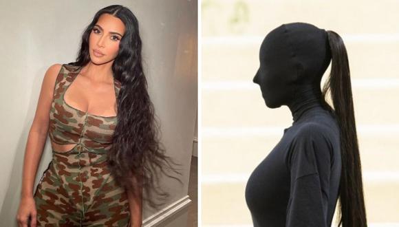 Kim Kardashian gastó 10.000 dólares en las extensiones de cabello que llevó a la Gala Met. (Composición: Instagram / AFP)