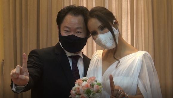 Kenji Fujimori contrajo matrimonio este martes en la Municipalidad de Miraflores. (Captura de video - Municipalidad de Miraflores)