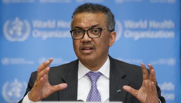 El director general de la OMS, Tedros Adhanom Ghebreyesus, habla durante una prensa sobre la enfermedad del nuevo coronavirus COVID-19 en la sede de la Organización Mundial de la Salud (OMS) en Ginebra, Suiza. (EFE/SALVATORE DI NOLFI).