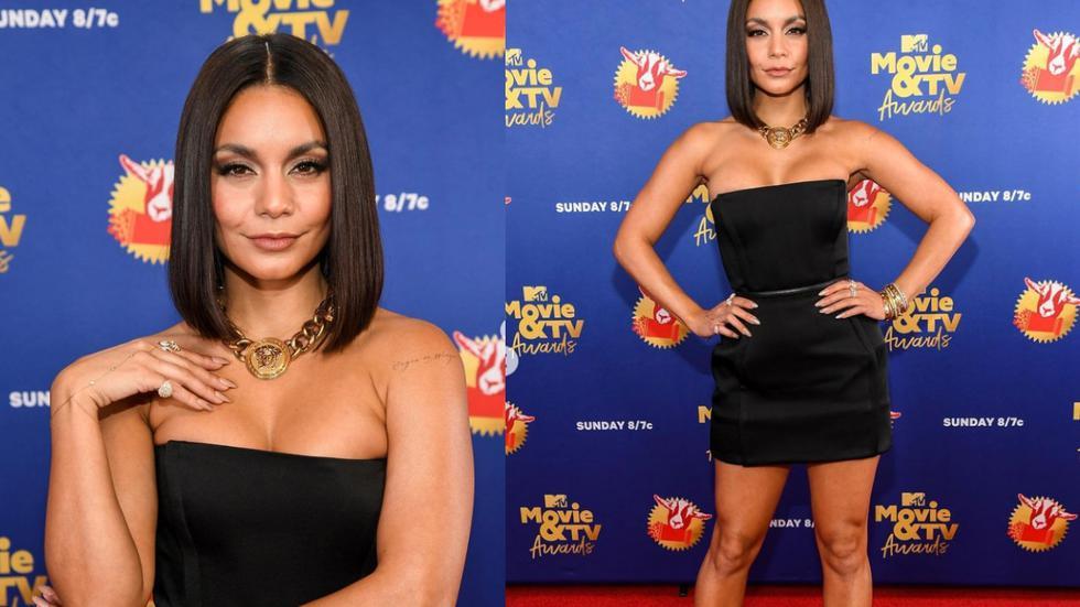 Vanessa Hudgens lució imponente en su primer look para los premios de MTV. Sobre la alfombra roja, la actriz estadounidense llevó un mini vestido con escote palabra de honor en tono negro, de la firma Versace. (Fotos: IG @team.hudgens)