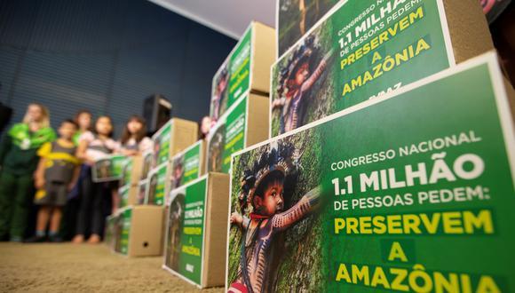 El equipo de Avaaz reunió docenas de estudiantes que pidieron al Congreso que pusiera fin a la deforestación ilegal y aprobara leyes urgentes para proteger este precioso bosque. Foto: AFP