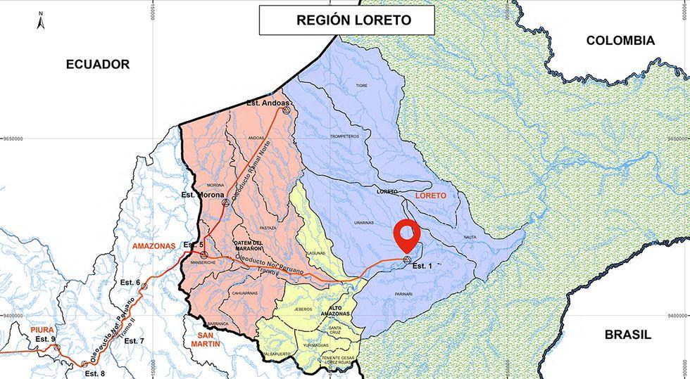 Mapa de las estaciones del Oleoducto Norperuano. (Imagen: Petro-Perú).