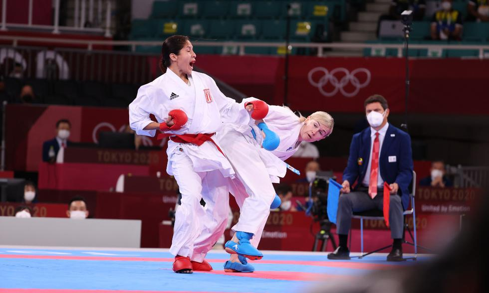 Alexandra Grande compitió en la modalidad kumite de karate en Tokio 2020 | Foto: Talía Vargas, enviada especial Diario Récord Perú