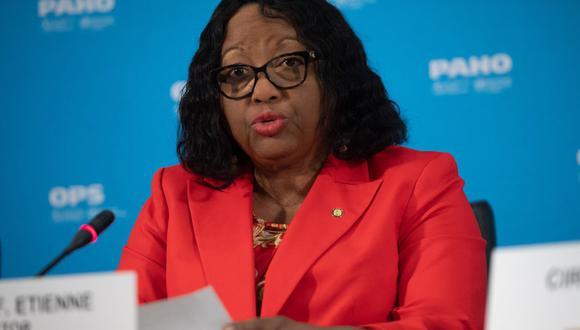 Carissa Etienne, directora de la Organización Panamericana de la Salud (OPS) y Directora Regional de la Organización Mundial de la Salud (OMS) para las Américas, habla sobre el coronavirus durante una conferencia de prensa en Washington, DC (Estados Unidos), el 6 de marzo de 2020. ( SAUL LOEB / AFP).