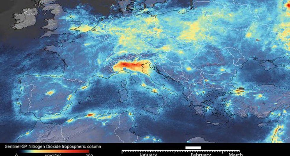 Las fotografías revelan una fuerte reducción de las concentraciones de dióxido de nitrógeno en las principales ciudades de Europa, entre ellas Milán, París y Madrid. (Foto Agencia espacial Europea)