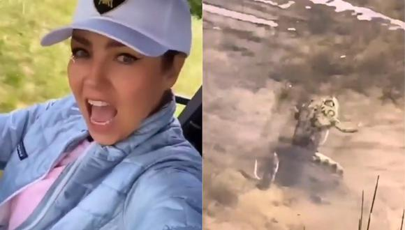 Thalía soltó varias lisuras al encontrarse con una rana en su recorrido por la naturaleza. (Foto: Captura Instagram)